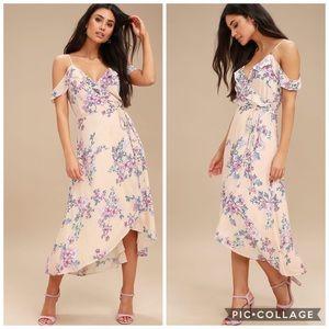Cream Floral Print Off the Shoulder Dress